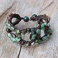 Agate and quartz wristband bracelet, 'Chain of Life' - Agate and Quartz Wristband Bracelet from Thailand