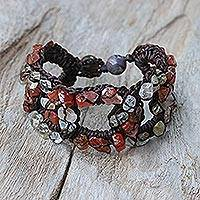 Multi-gemstone wristband bracelet, 'Chain of Life' - Carnelian and Quartz Wristband Bracelet from Thailand