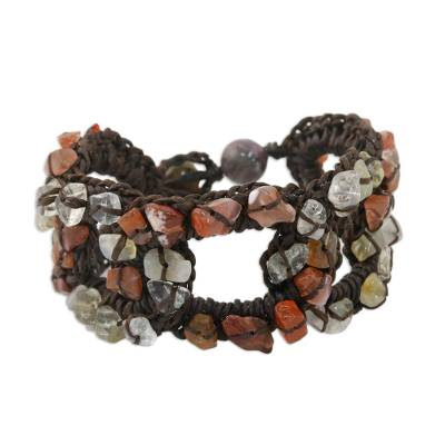 Carnelian and Quartz Wristband Bracelet from Thailand