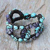 Amethyst and calcite wristband bracelet, 'Chain of Life' - Amethyst and Calcite Wristband Bracelet from Thailand