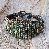 Agate wristband bracelet, 'Lively Humor' - Agate and Brass Adjustable Wristband Bracelet from Thailand