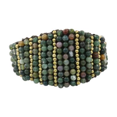 Agate and Brass Adjustable Wristband Bracelet from Thailand