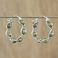 Cultured pearl hoop earrings, 'Cloud Twist in Green' - Green Cultured Pearl and 925 Silver Earrings from Thailand