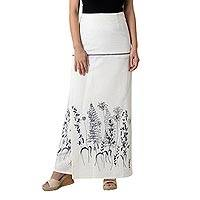 Cotton wrap skirt, 'Prairie in White' - White Cotton Artisan Crafted Floral Wrap Skirt