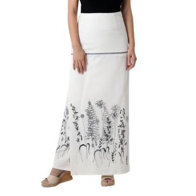 White Cotton Artisan Crafted Floral Wrap Skirt