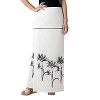 Cotton wrap skirt, 'Bird of Paradise on White' - White Cotton Wrap Skirt with Dark Grey Bird of Paradise