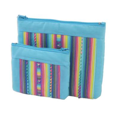 Handcrafted Cotton Blend Cosmetic Bags from Thailand (Pair)