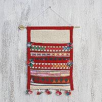 Cotton wall hanging, 'Akha Carnival' - Handwoven Cotton Wall Hanging in Tomato and Ivory