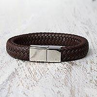 Leather wristband bracelet, 'Best Friend in Brown' - Brown Braided Leather Wristband Bracelet from Thailand