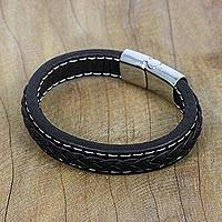 Leather wristband bracelet, 'Worldly Spirit in Black' - Black Braided Leather Wristband Bracelet from Thailand
