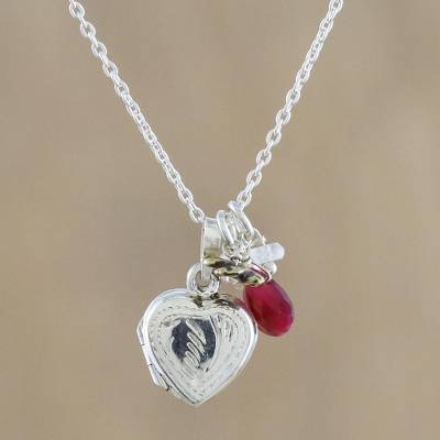 Multi-gemstone locket necklace, 'Love and Life' - Heart-shaped Locket Necklace with Ruby and Cultured Pearl