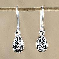 Sterling silver dangle earrings, 'Fabulous Drops' - Sterling Silver Drop-Shaped Dangle Earrings from Thailand