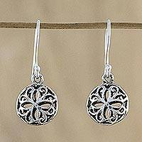 Sterling silver dangle earrings, 'Thai Opulence' - Sterling Silver Openwork Dangle Earrings from Thailand