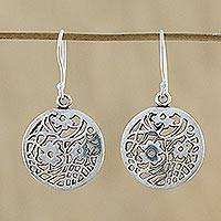 Sterling silver dangle earrings, 'Flower Dream Catchers' - Sterling Silver Floral Dangle Earrings from Thailand