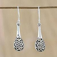 Sterling silver dangle earrings, 'Drop Webs' - Sterling Silver Web Dangle Earrings from Thailand