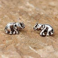 Sterling silver button earrings, 'Smiling Elephants' - Handmade Silver Elephant Button Earrings from Thailand