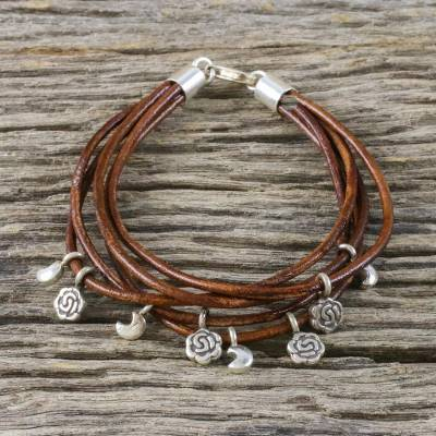 Silver Accent Leather Charm Bracelet Brown Moons And Roses Handmade