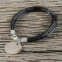 Silver and leather charm bracelet, 'Inspiring Midnight Reminder' - Thai Black Leather Cord Bracelet with 950 Silver Hope Charm