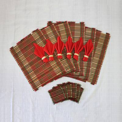 Cotton and bamboo table linens, 'Chili Thai Classic' (set of 6) - Handwoven Chili Red Cotton and Bamboo Table Linens for Six