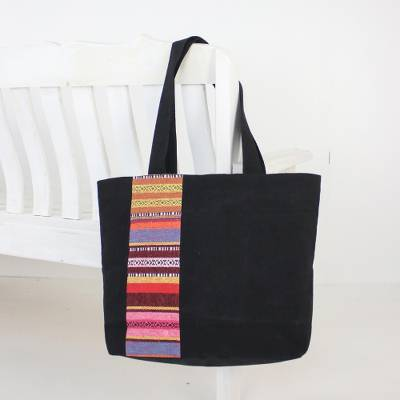 1291587ed04 Black Cotton Tote Bag with Stripe Design from Thailand, 'Spring in Thailand'