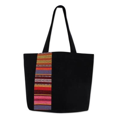Cotton tote bag, 'Spring in Thailand' - Black Cotton Tote Bag with Stripe Design from Thailand