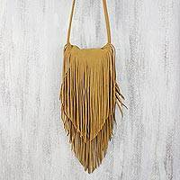 Suede sling, 'Simply Bohemian' - Handmade Suede Sling Handbag with Fringe from Thailand