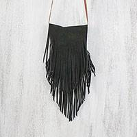 Suede sling, 'Simply Bohemian in Black' - Handcrafted Fringed Suede Sling in Black from Thailand