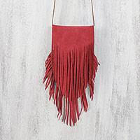 Suede sling, 'Simply Bohemian in Ruby' - Handcrafted Fringed Suede Sling in Ruby from Thailand