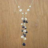 Cultured pearl Y-necklace, 'Beauty of the Sea' - Cultured Pearl Sterling Silver Gold Accented Y Necklace