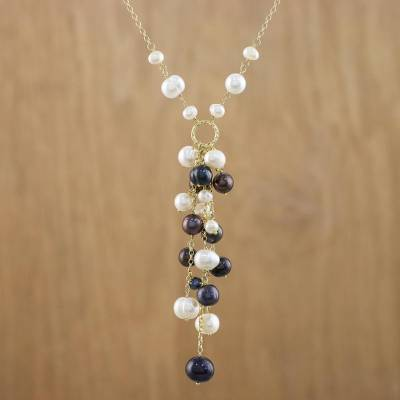 Cultured Pearl Sterling Silver Gold Plated Y Necklace