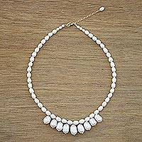 Cultured pearl strand necklace, 'Lustrous Glow' - Fair Trade Cultured Freshwater Pearl Necklace from Thailand