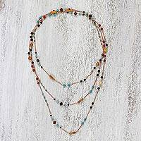 Multi-gemstone long station necklace, 'Charming Mix' - Gold Plated Multi-Gemstone Long Necklace from Thailand