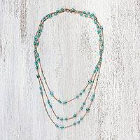 Calcite long station necklace, 'Charming Blue' - Rose Gold Plated Calcite Station Necklace from Thailand