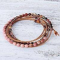 Rhodonite and jasper wrap bracelet, 'Karen Magnificence' - Rhodonite Jasper and Silver Wrap Bracelet from Thailand
