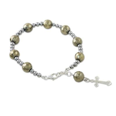 Pyrite and Hematite Beaded Rosary Bracelet from Thailand