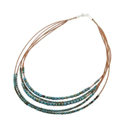 Beaded necklace, 'Relaxing Strands' - Reconstituted Turquoise Beaded Necklace from Thailand