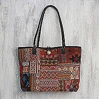 Leather accent cotton blend shoulder bag, 'Sunrise Geometry' - Leather Accent Cotton Blend Shoulder Bag from Thailand