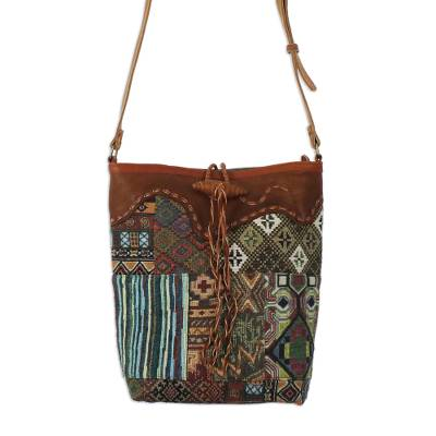 Novica Leather accent cotton blend sling, Afternoon Journey