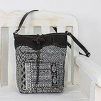 Leather accent cotton blend sling bag, 'Sophisticated Journey' - Leather Accent Cotton Blend Sling in Black and White