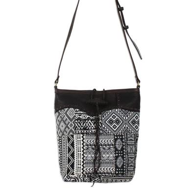 Novica Leather accent cotton shoulder bag, Black Sophisticated Companion