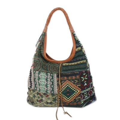 Leather accent cotton blend hobo bag, 'Ocean Geometry' - Leather Accent Cotton Blend Hobo Handbag from Thailand