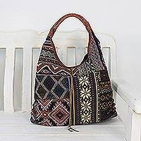 Leather accent cotton blend hobo bag, 'Geometric Shopper' - Leather Accent Cotton Blend Hobo Handbag from Thailand