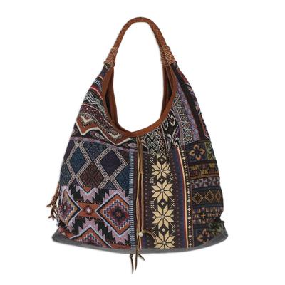 Novica Leather accent cotton blend hobo handbag, Lapis Geometry