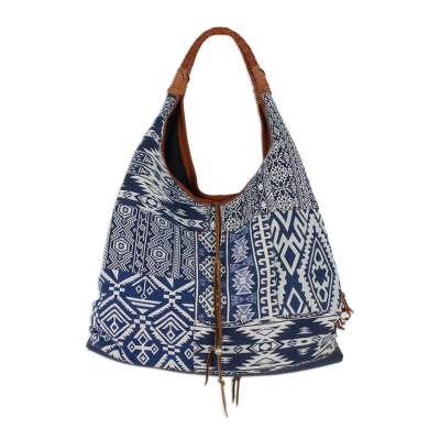 Novica Leather accent cotton shoulder bag, Blue Yin-Yang
