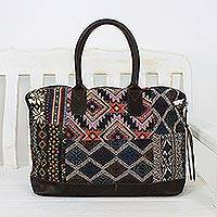 Leather accent cotton blend handbag, 'Exotic Journey' - Leather Accent Cotton Blend Tote Handbag from Thailand