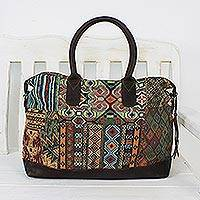 Leather accent cotton blend handbag, 'Exotic Traveler' - Leather Accent Cotton Blend Handbag from Thailand