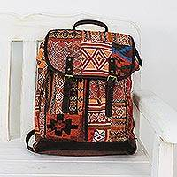Leather accent cotton blend backpack, 'Geometric Adventurer' - Leather Accent Cotton Blend Backpack from Thailand