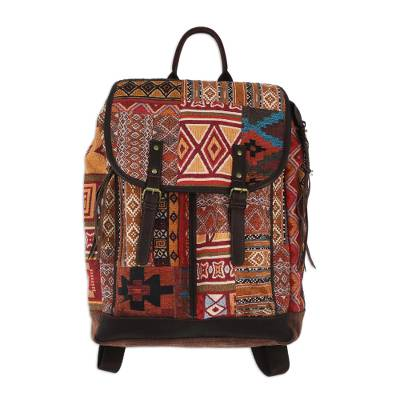 Leather Accent Cotton Blend Backpack from Thailand