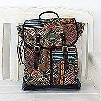 Leather accent cotton blend backpack, 'Geometric Traveler' - Leather Accent Cotton Blend Backpack from Thailand
