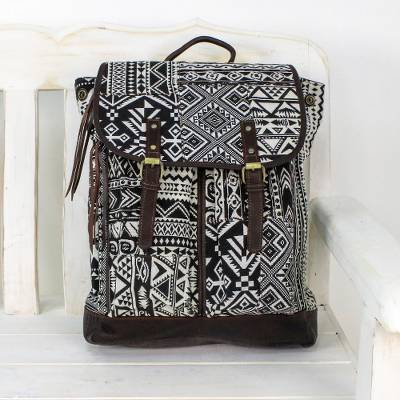 Leather accent cotton blend backpack, 'Geometric Explorer' - Leather Accent Cotton Blend Backpack in Black and White